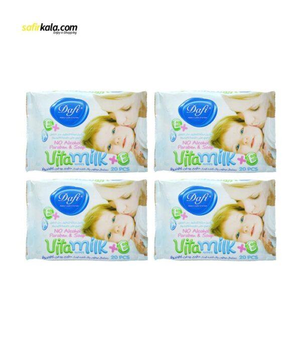 دستمال مرطوب کودک دافی مدل vita milk مجموعه 4 عددی   سفیرکالا