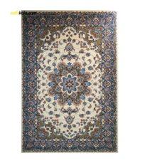 فرش ماشینی ساوین کد 2103 حاشیه آبی شتری زمینه کرم | سفيرکالا