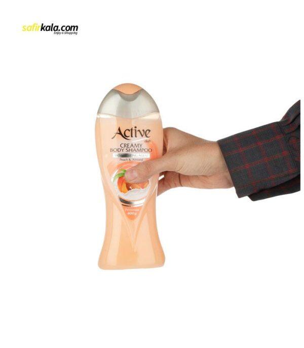 شامپو بدن کرمی اکتیو مدل Peach And Almond مقدار 400 گرم | سفيرکالا