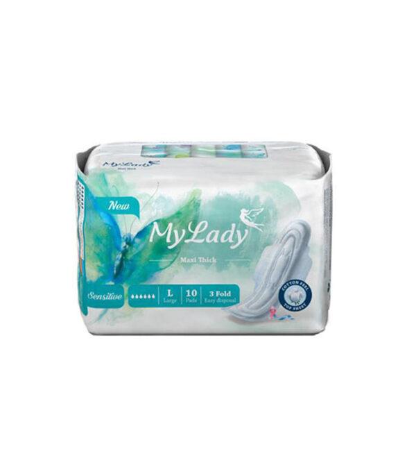نوار بهداشتی بالدار مای لیدی مدل Maxi sensitive سایز بزرگ بسته 10 عددی | سفیرکالا