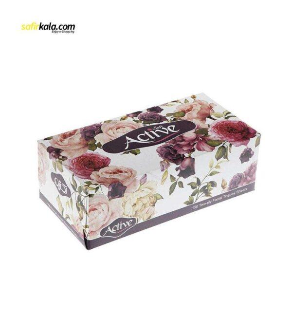 دستمال کاغذی 150 برگ اکتیو مدل Yas Flower بسته 5 عددی   سفیرکالا