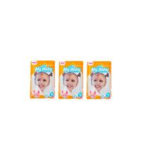 پوشک کودک مای بیبی مدل خانواده شاد سایز 5 بسته 8 عددی مجموعه 3 عددی | سفیرکالا