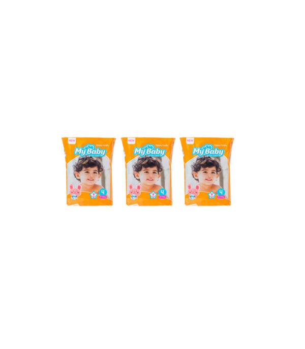 پوشک کودک مای بیبی مدل خانواده شاد سایز 4 بسته 8 عددی مجموعه 3 عددی | سفیرکالا
