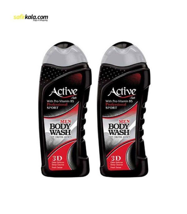 پک شامپو بدن مردانه اکتیو سری Sport مدل Black بسته 2 عددی   سفیرکالا
