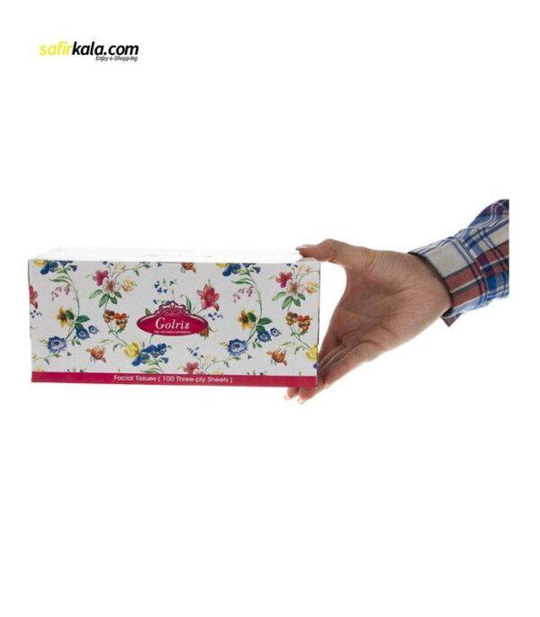 دستمال کاغذی 100 برگ گلریز گلدار طرح مریم   سفیرکالا