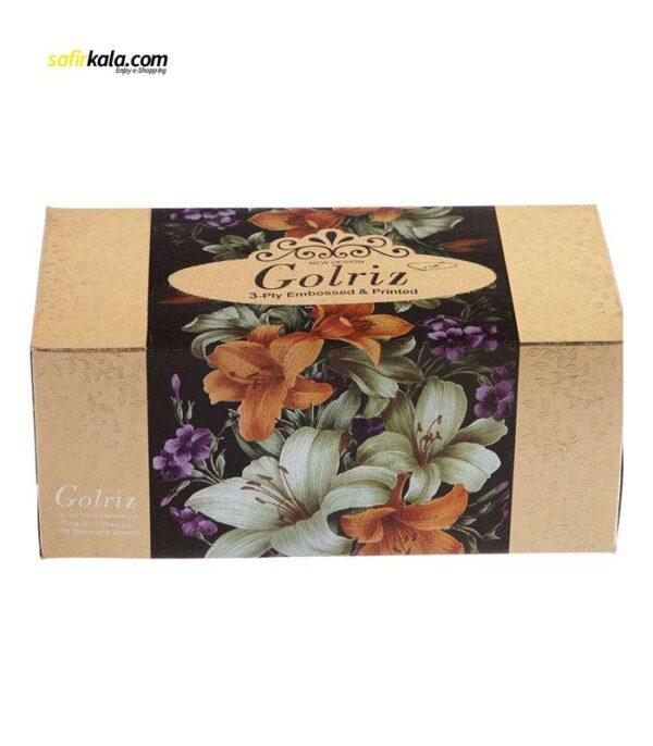 دستمال کاغذی 100 برگ گلریز گلدار طرح طلايي و نقره اي | سفیرکالا