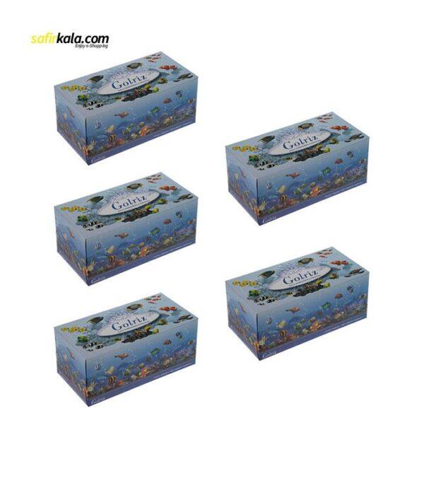 دستمال کاغذی 100 برگ گلریز مدل آکواریوم بسته 5 عددی   فروشگاه اینترنتی سفیر کالا